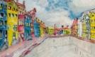 Schilderij met huisjes